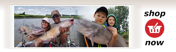 Photos of satisfied clients and their catches.